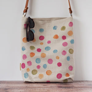 Tote Bag Printed Linen With Leather Handles
