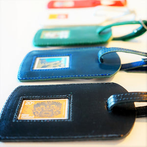 Luggage Tag Leather Navy