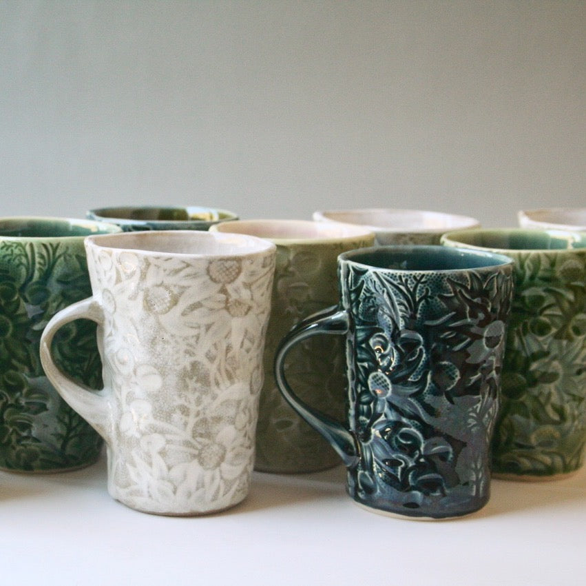 Ceramic Mug Flannel Flower Tall