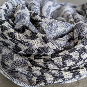 Scarf Silk Linen Wool Black White Navy Puckered