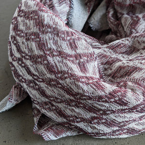Scarf Silk Linen Wool Black White Deep Pink