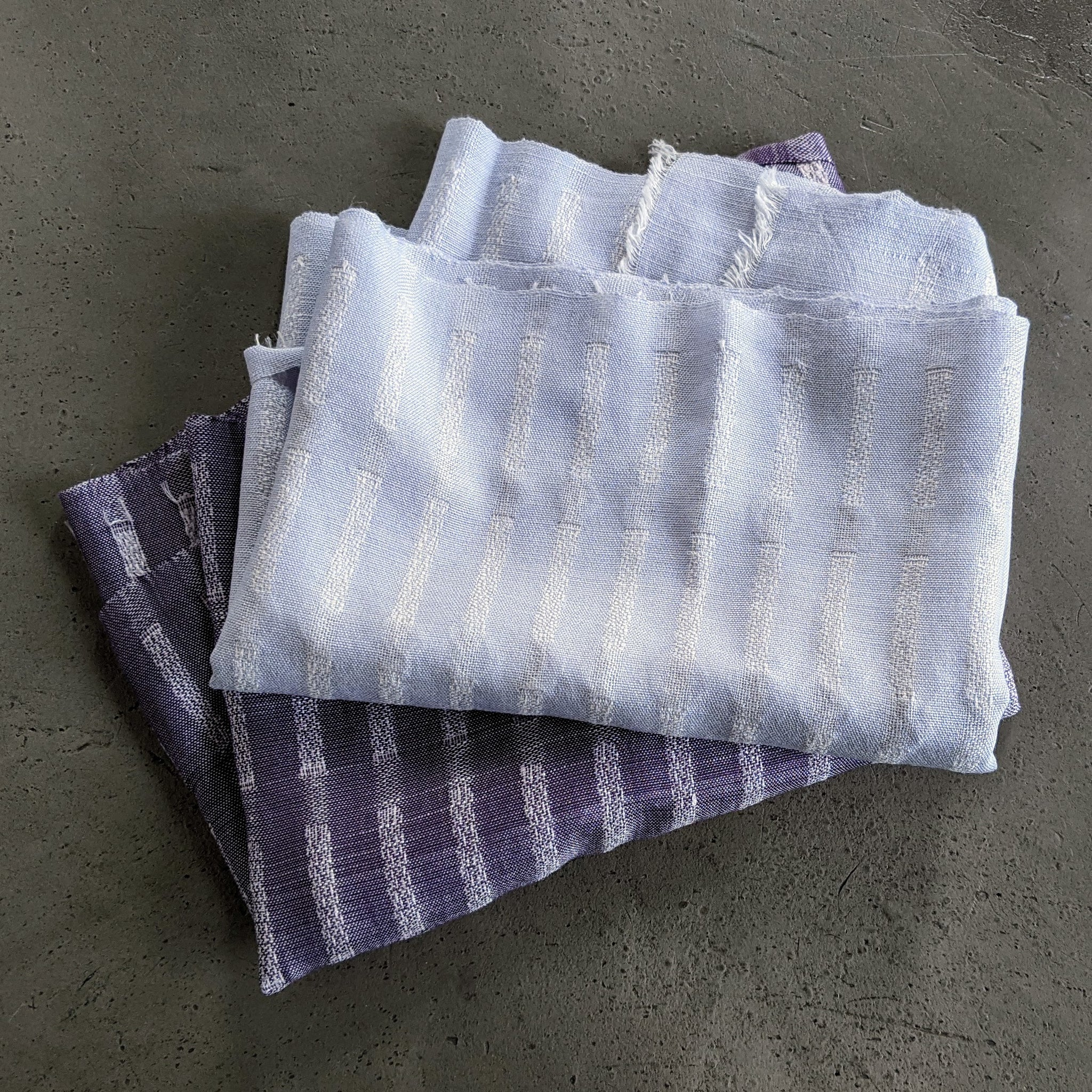 Scarf Silk Stripe Purple White