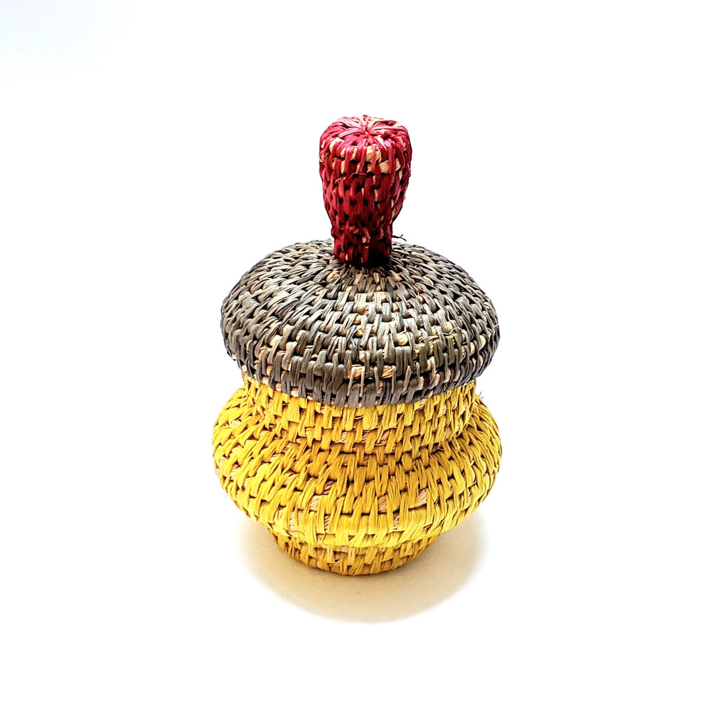 Woven Lidded Vessel Red Grey Yellow