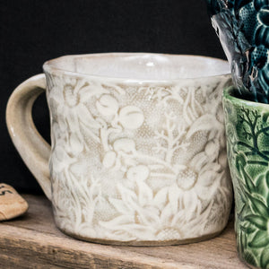 Ceramic Mug Flannel Flower Wide Mouth