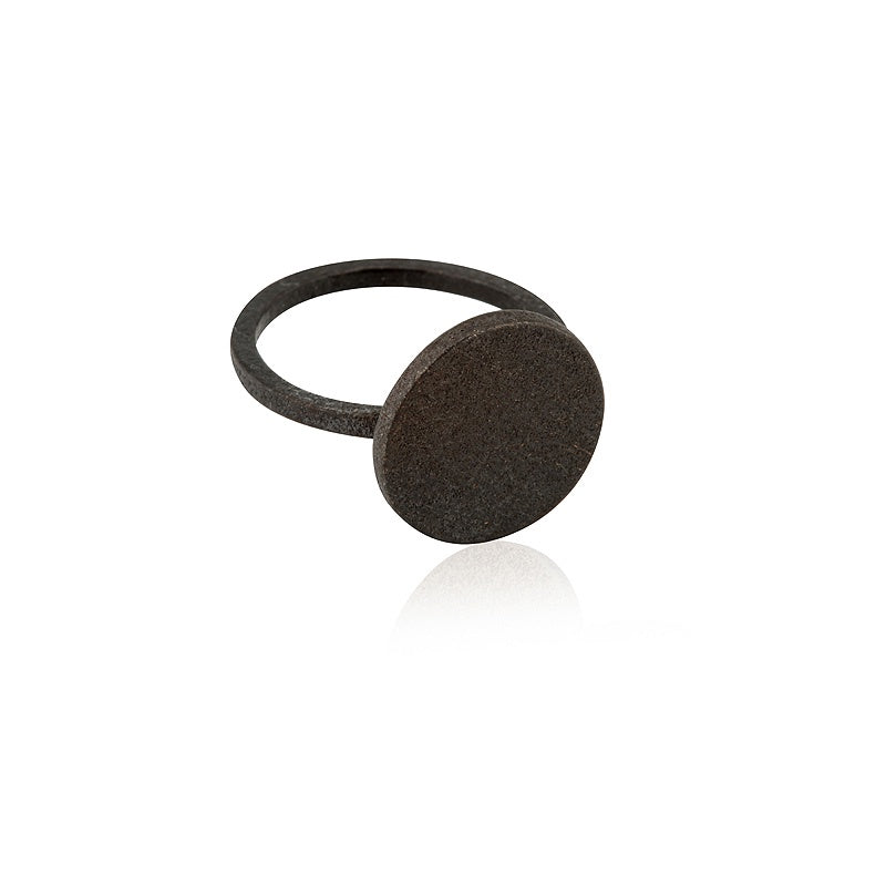 Ring Circle Statement Satin Steel Rustic Bronze Onyx