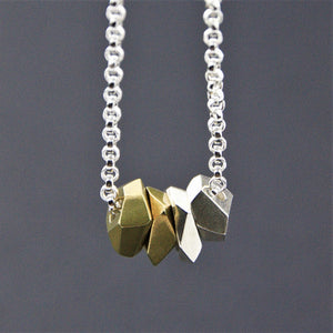 Pendant Quad Facet Sterling Silver Brass