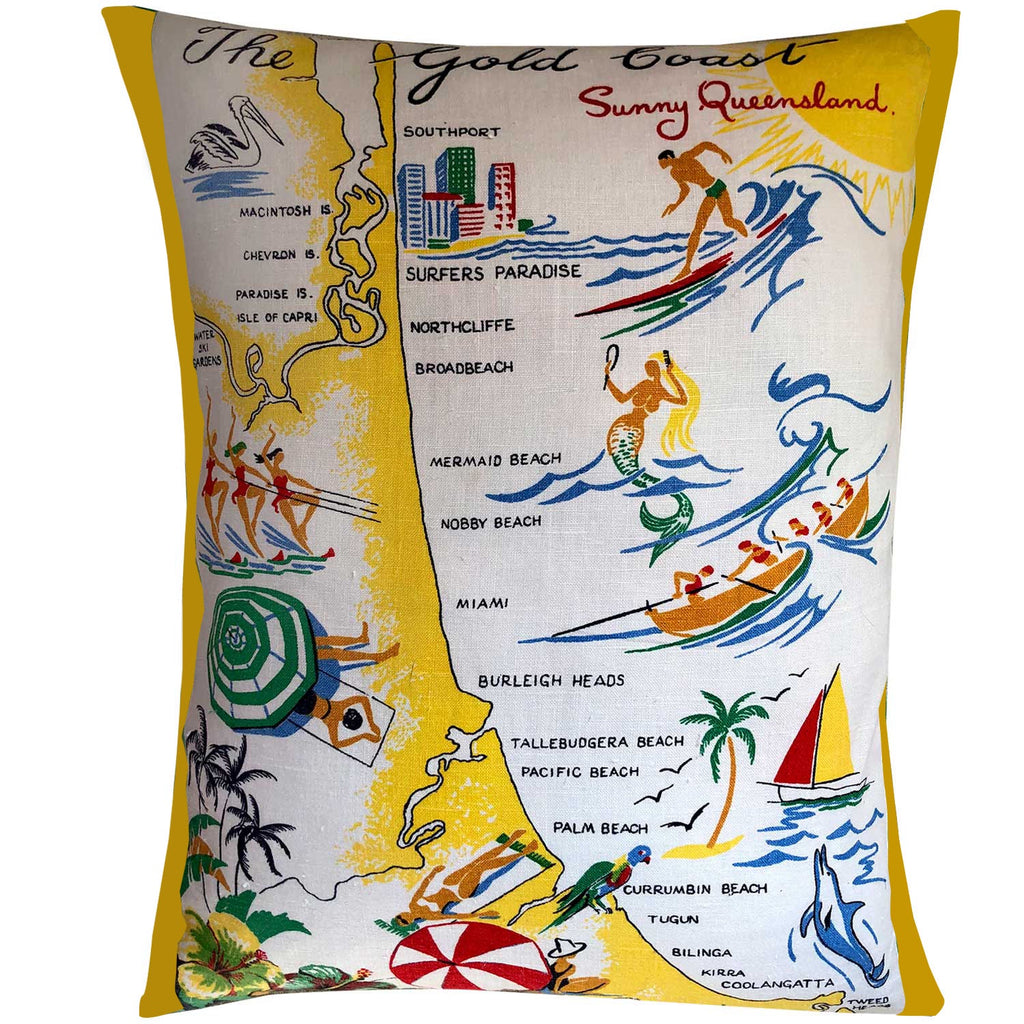Cushion Cover Vintage Linen Gold Coast