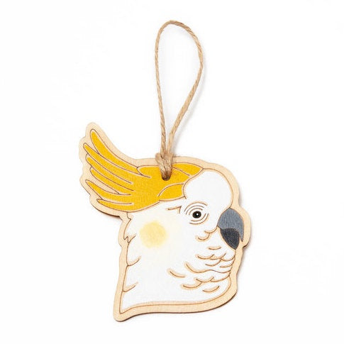 Hanging Plywood Ornament Sulphur-Crested Cockatoo