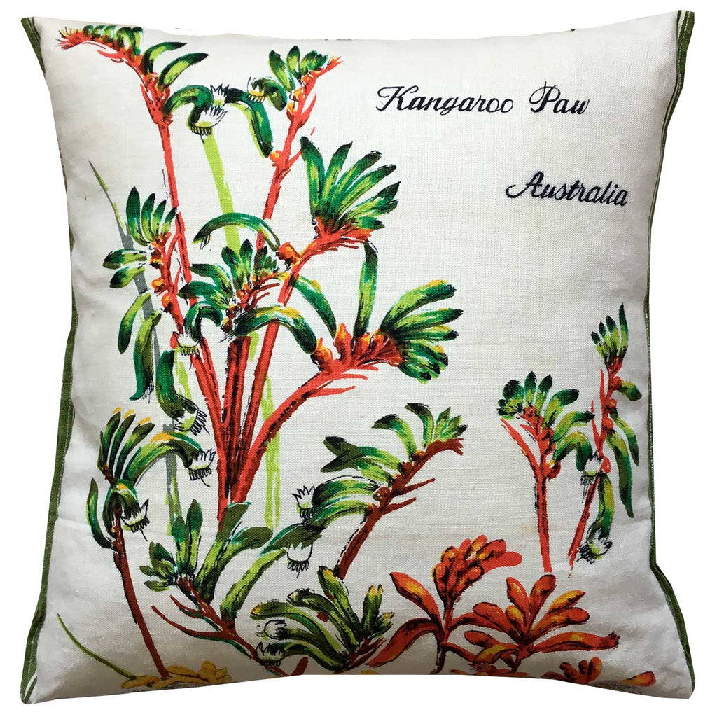 Cushion Cover Vintage Linen Kangaroo Paw