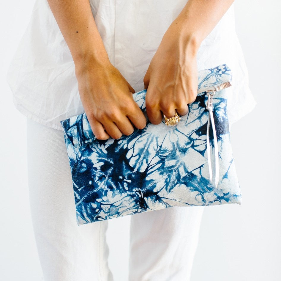 Clutch Purse Leather Azure Shibori