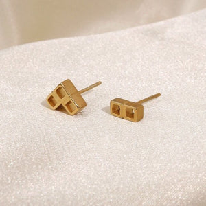 Stud Earrings Tetris Gold