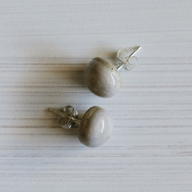 Stud Earrings Ceramic Acorn Small