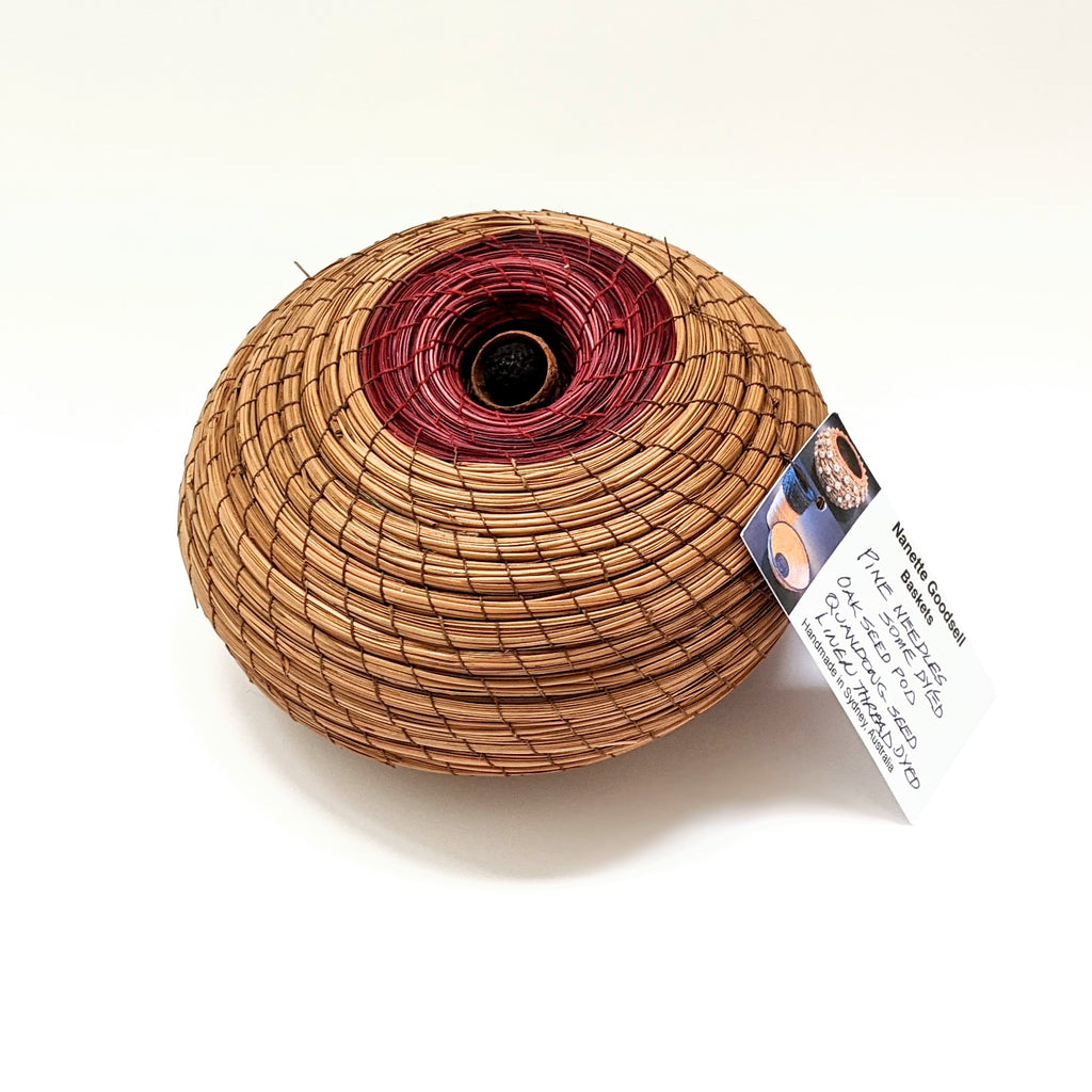 Basket Woven #2 Pine Needle Oak Seed Quandong Red