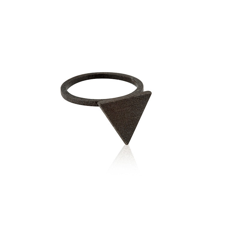 Ring Triangle Statement Satin Steel Rustic Bronze Onyx
