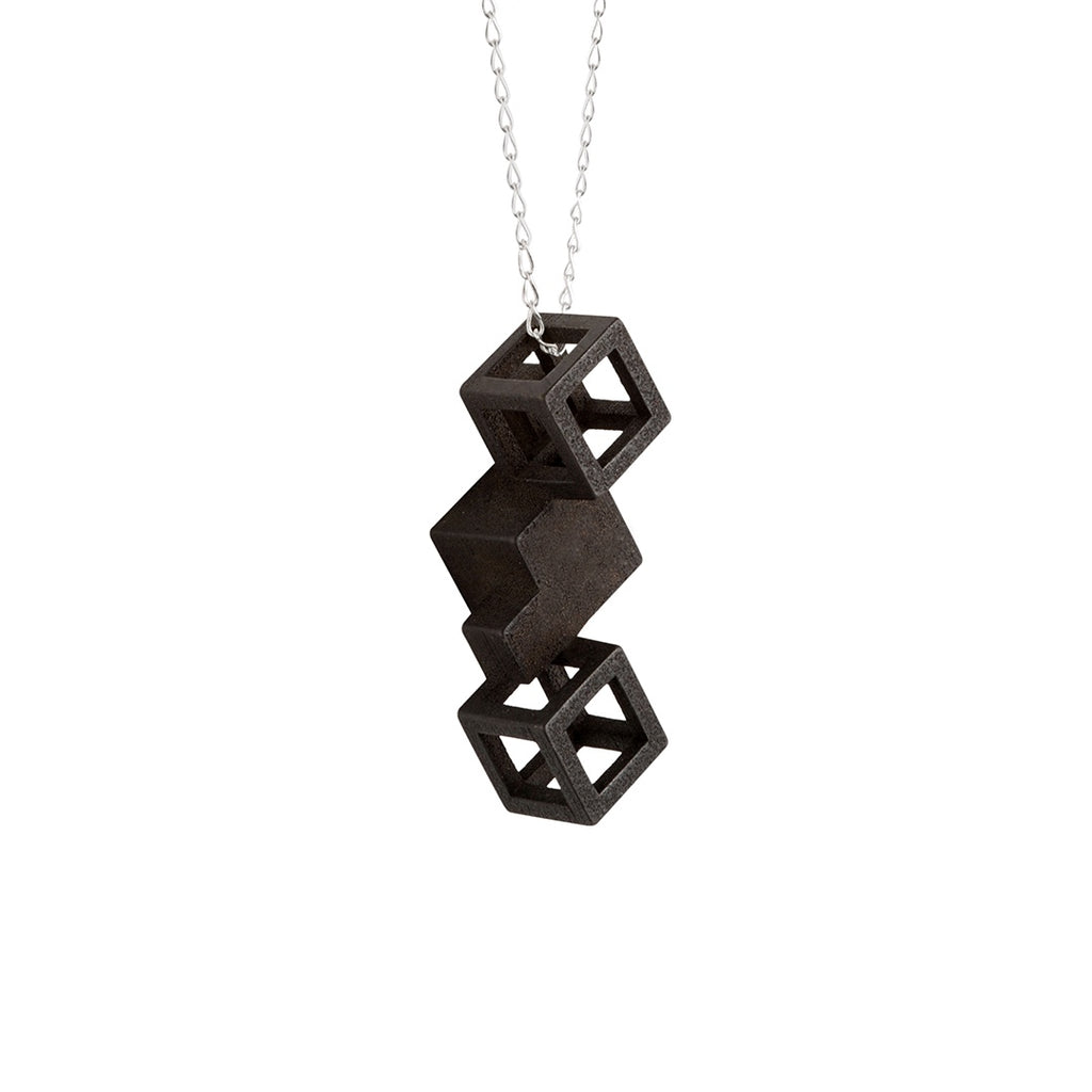 Pendant Cube Stainless Steel Sterling Silver