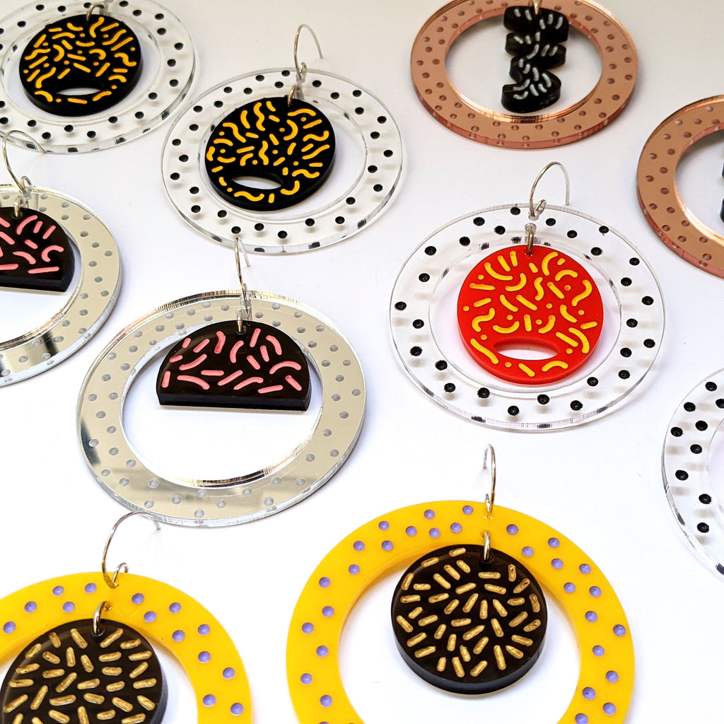 Earrings Hand Etched Painted Acrylic Hoops