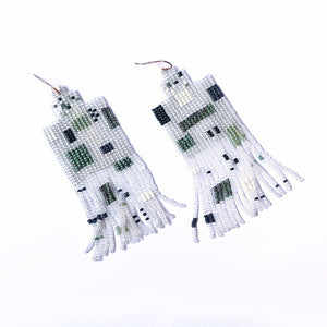 Hook Earrings Beaded Green White Transparent Square Fringe