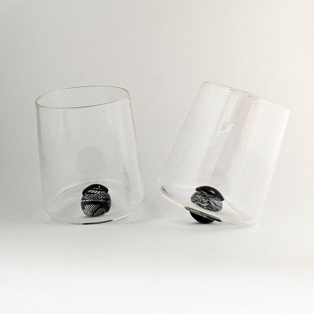 Glass Wine Tumbler Rondure Black Cane Marble