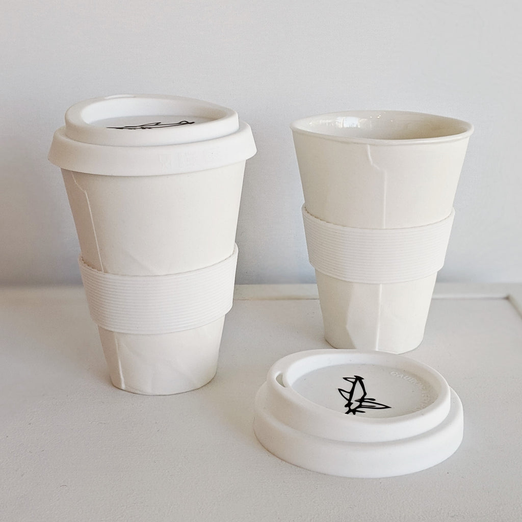 Ceramic Coffee Cup With Lid Paper Series 350ml