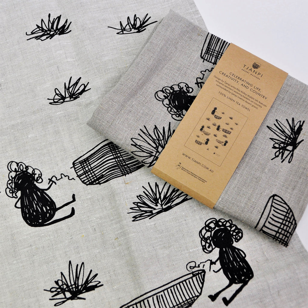Tea Towel Tjanpi Rita Rolley 100% Linen
