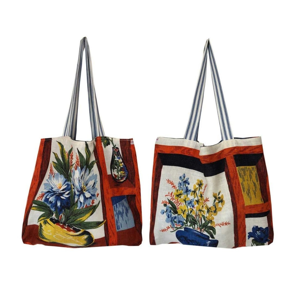 Tote Bag Vintage Linen Abstract Florals