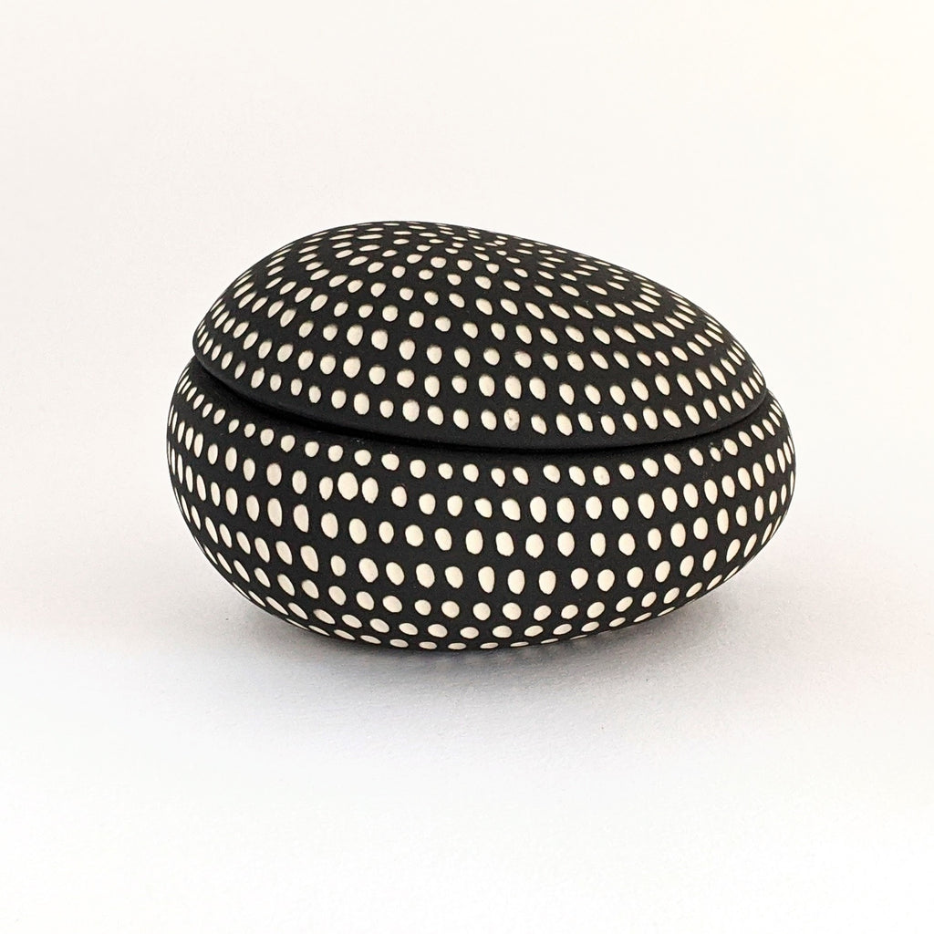 Ceramic Lidded Box Pebble Black White Large