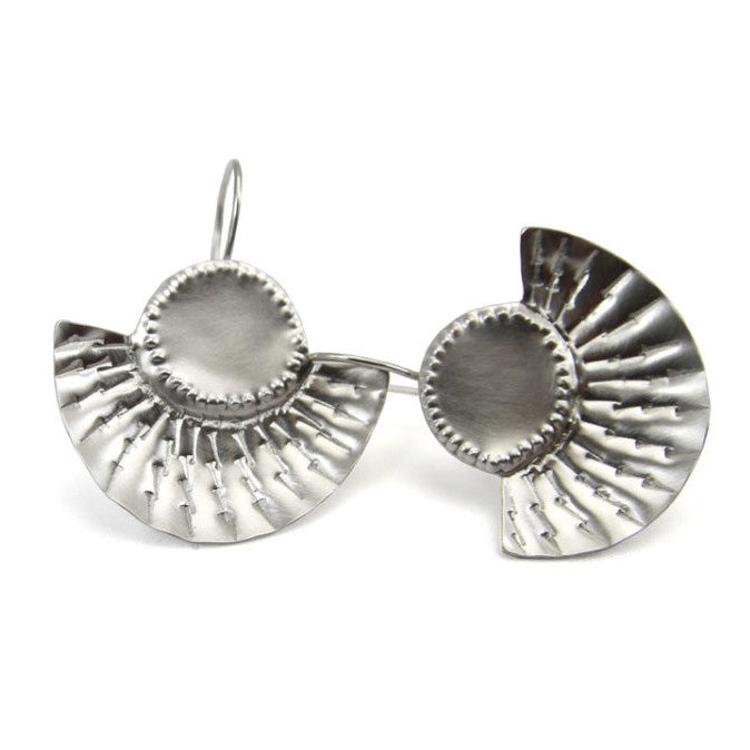 Hook Earrings Dot Dot Dash Sterling Silver