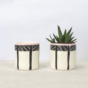 Ceramic Planter Cross Hatch Pink Black White Little
