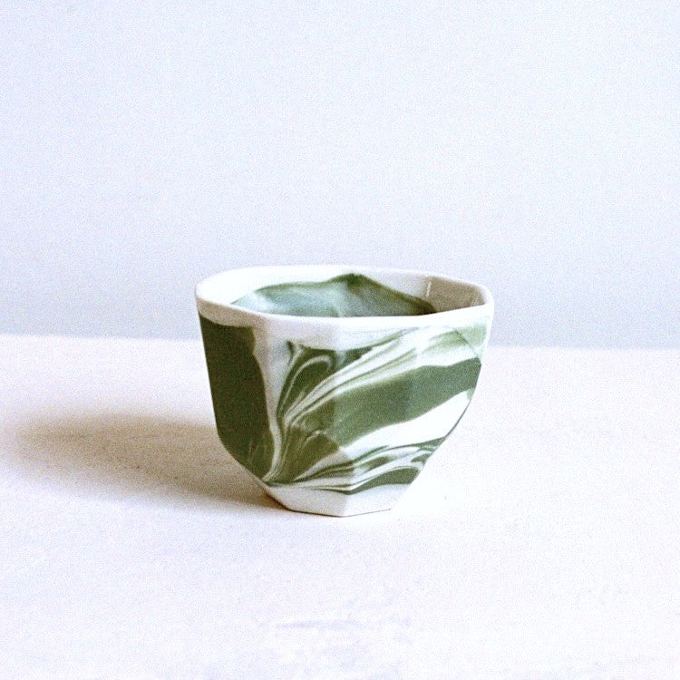 Ceramic Cup Gem Marbled Green White