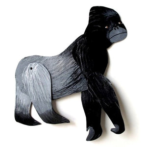 Artwork Hand Painted Articulated Silverback Gorilla