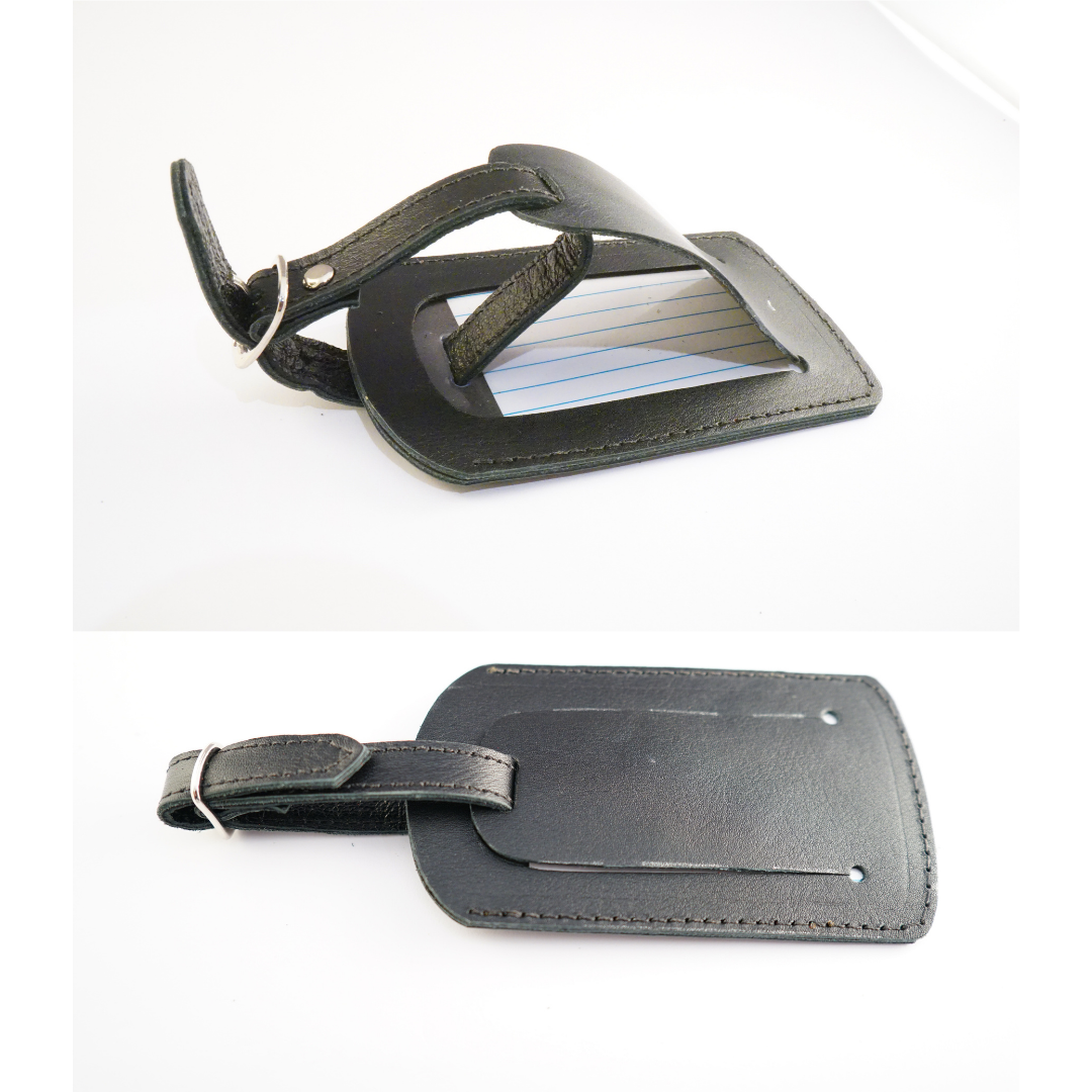 Luggage Tag Leather Black
