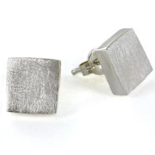 SILVER SQUARE POST EARRINGS