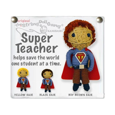 SUPER TEACHER BOY STRING DOLL