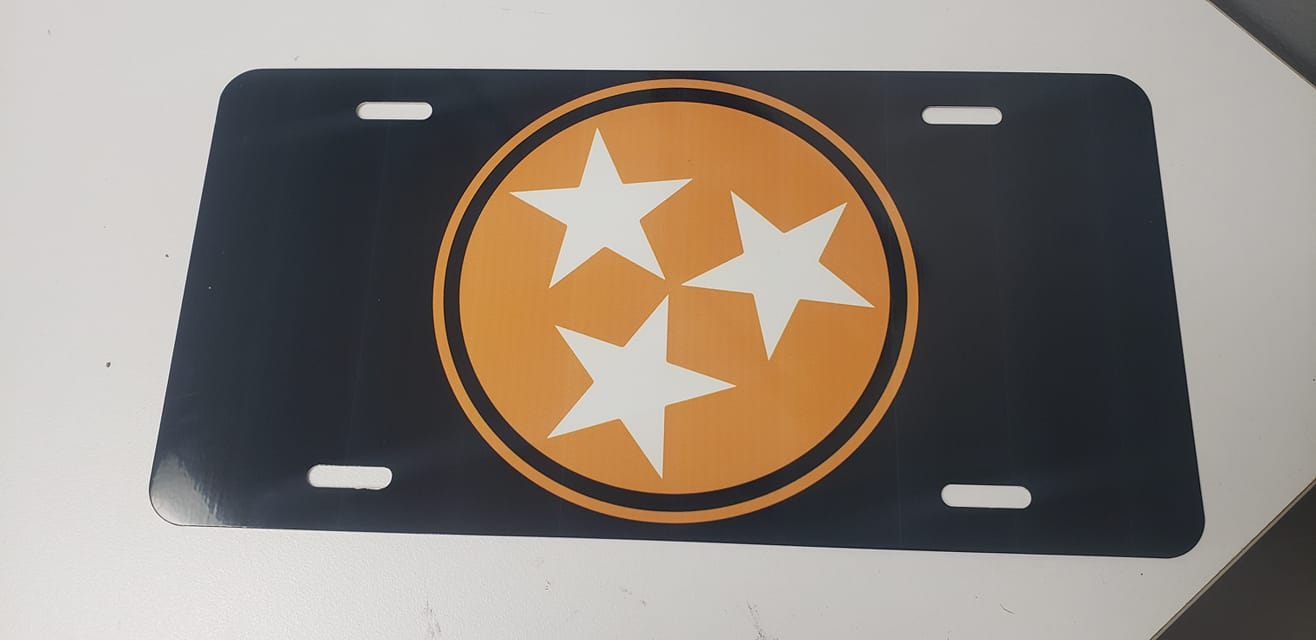 Tri Star Smokey Gray License Plate