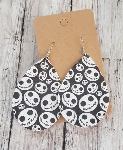 Skelleton Earrings  Faux Leather