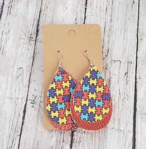 Autism Puzzle Earrings  Faux Leather