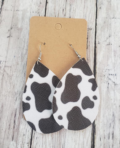 Black Cow Print Earrings  Faux Leather