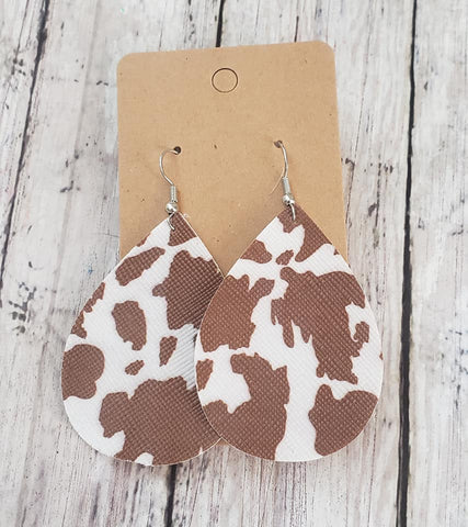Brown Cow Print Earrings  Faux Leather