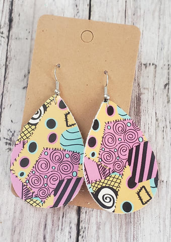 Sally Patches Earrings  Faux Leather