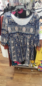 Blue Paisley baby doll top