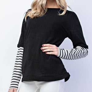 Black Solid top overlay stripe