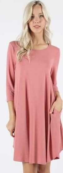 Blush Half Sleeve Tunic Dress