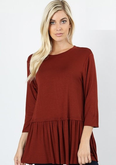 Rust Colored Ruffle Baby Doll top