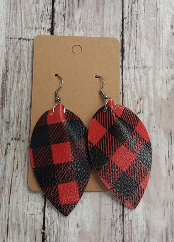Red Plaid Earrings  Faux Leather
