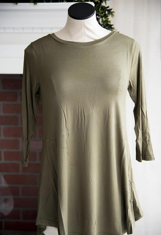 Olive 3/4th Sleeve Soft Tee
