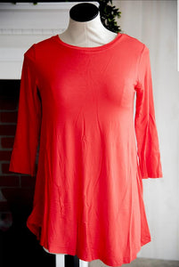 Red 3/4th Sleeve Soft Tee