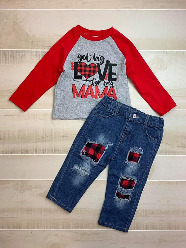 Plaid Love for Mama Boy Kids boutique Outfit