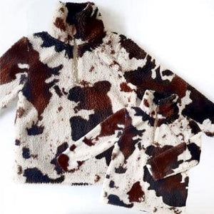 Mommy & Me Sherpas Cow Print