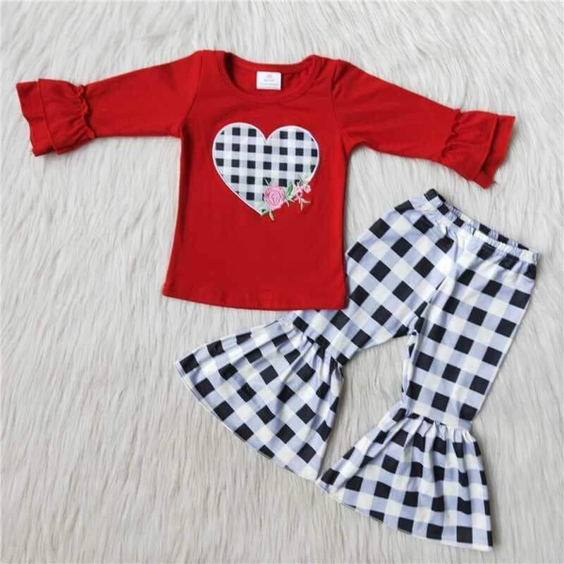 Plaid Heart Kids boutique Outfit