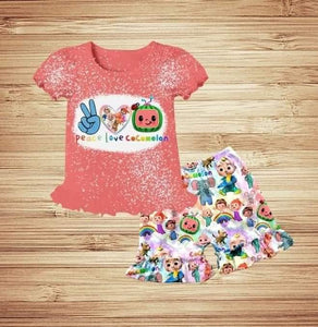 Peace & Love Pink Kids boutique Outfit